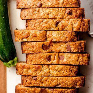 sliced chocolate chip zucchini bread