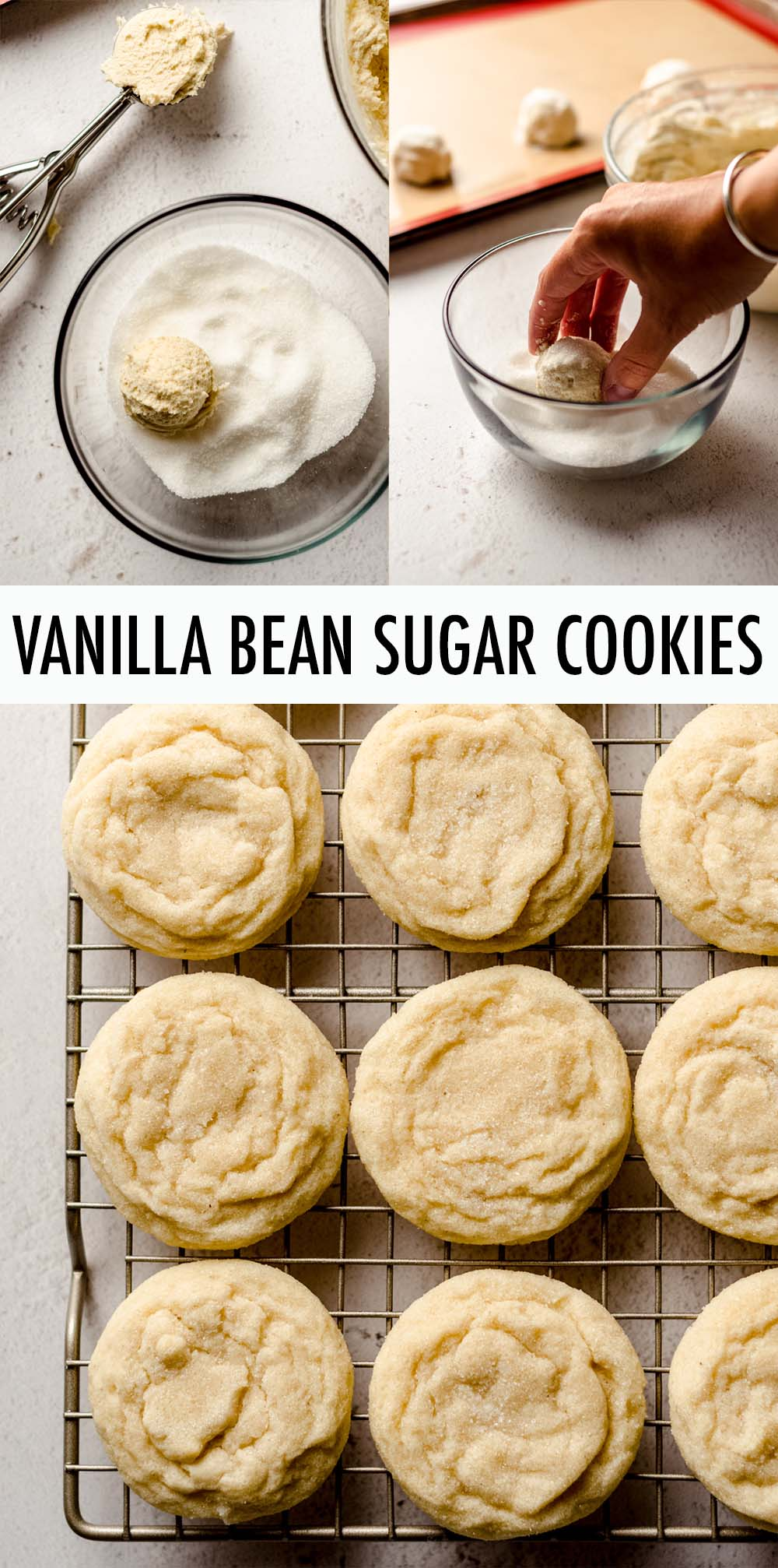 Pillowy soft and chewy sugar cookies bursting with fresh vanilla flavor and dusted with a sweet sugar coating.