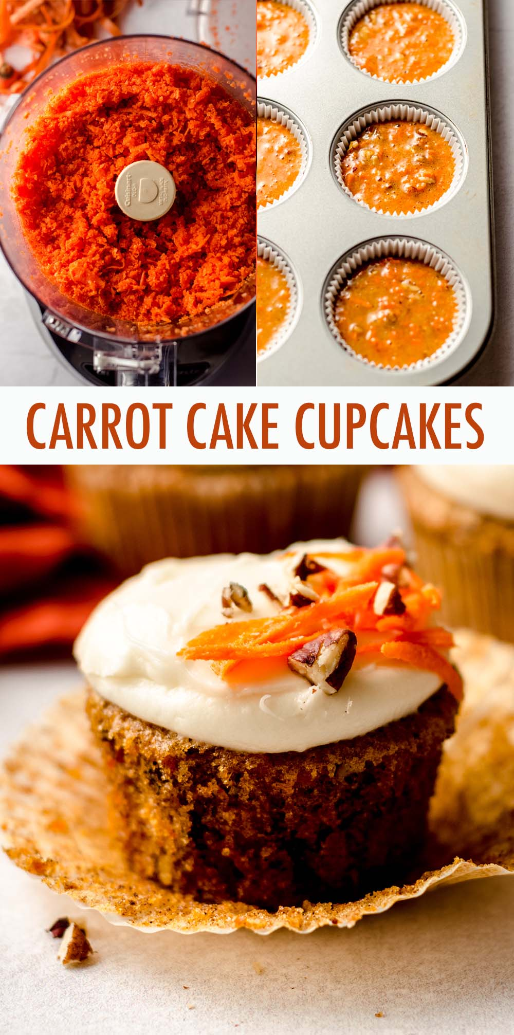 Wonderfully moist and flavorful carrot cake cupcakes filled with crunchy chopped nuts and topped with a smooth and creamy cream cheese frosting.