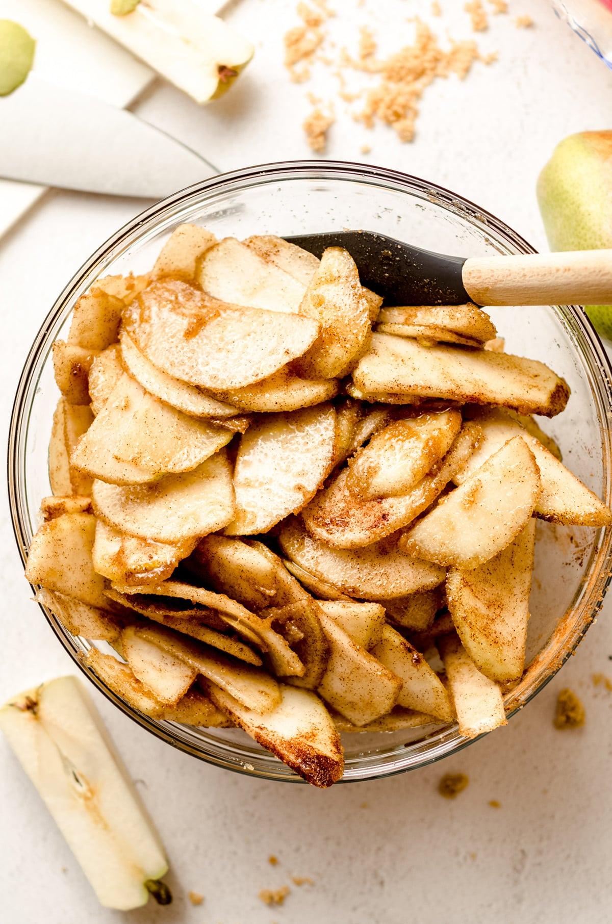 aerial photo of pears tossed in brown sugar and cinnamon