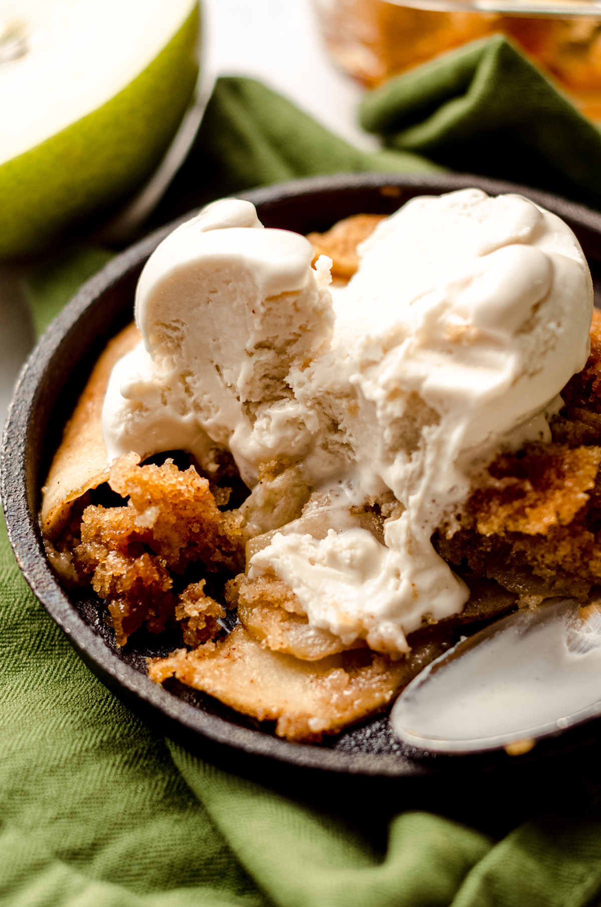 pear cobbler with ice cream on top