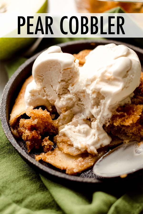 Tender, spiced pear slices baked into soft cinnamon biscuit dough, perfect with a scoop of ice cream or dollop of whipped cream.