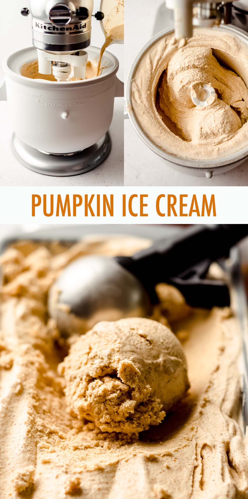 Smooth and creamy homemade ice cream made with real pumpkin, sweetened with brown sugar, and spiced with cinnamon and pumpkin pie spice. Get your pumpkin ice cream fix any time of the year with this simple recipe!