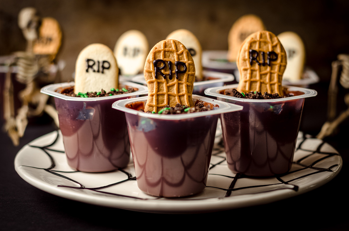 graveyard pudding cups on a plate