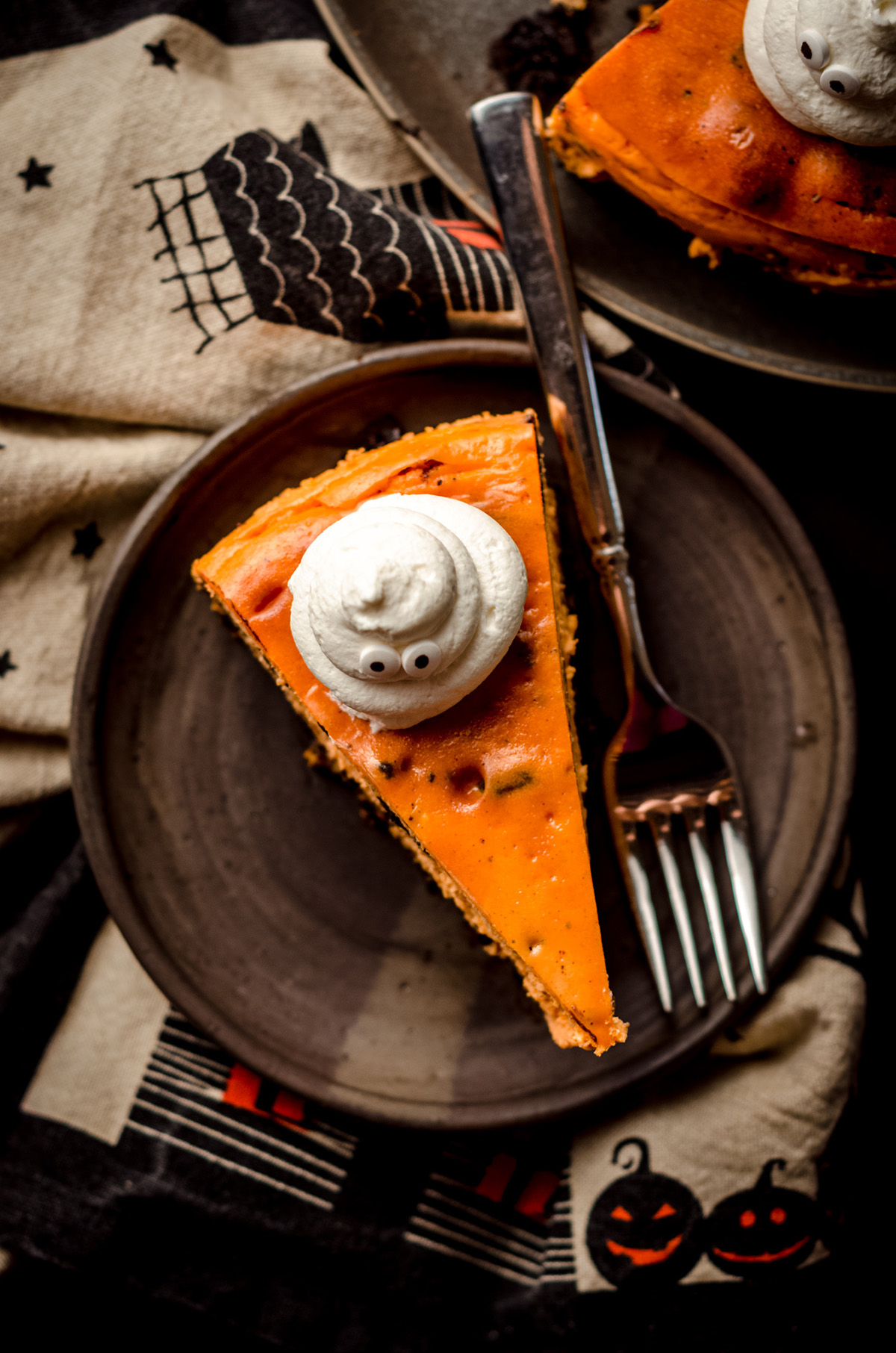 aerial photo of halloween cheesecake on a plate