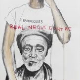 Real NEGUS Don't Die: BADASSSSS. Graphite and acrylic on paper. 39x26 in. 2012. Fahamu Pecou