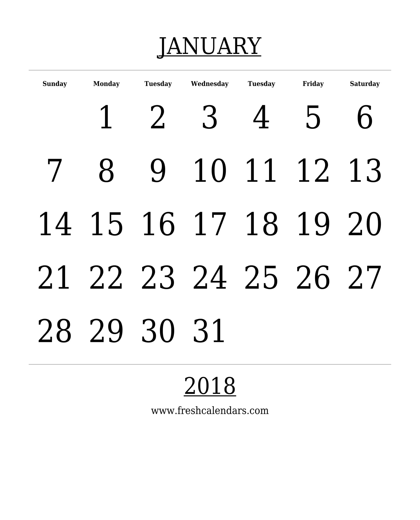 Blank January Calendar Printable Templates