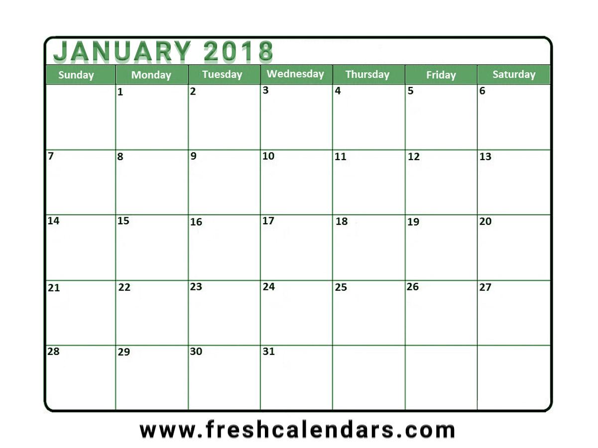 Vertical January Calendar Blank Free Printable