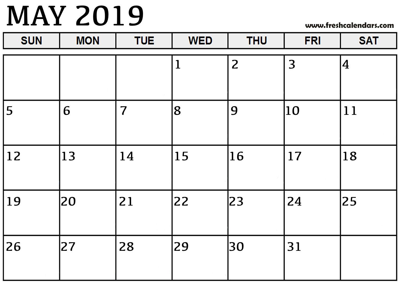 May Calendar Printable