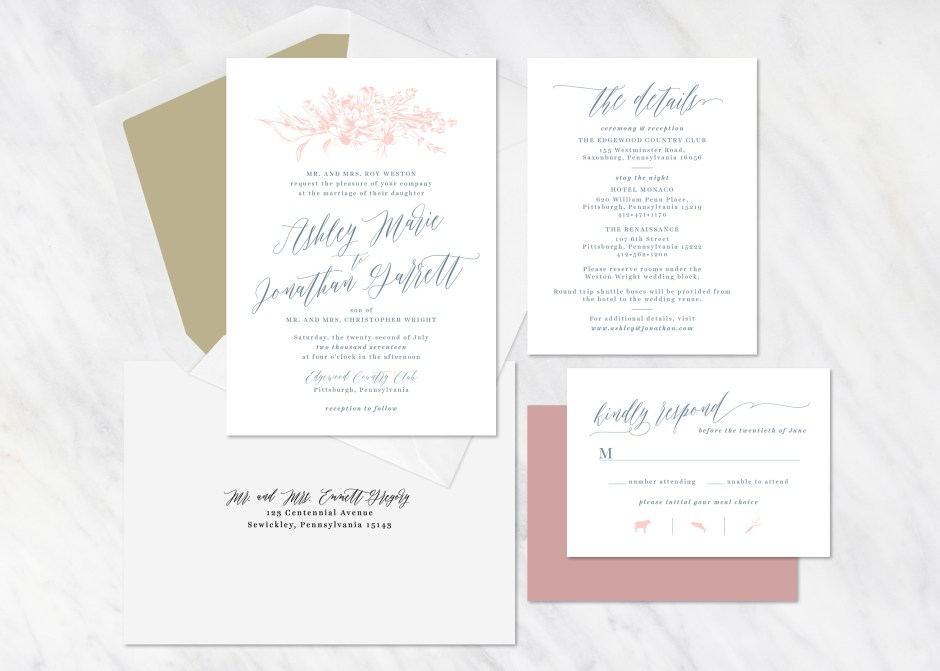 Minimalist Floral Wedding Invitations