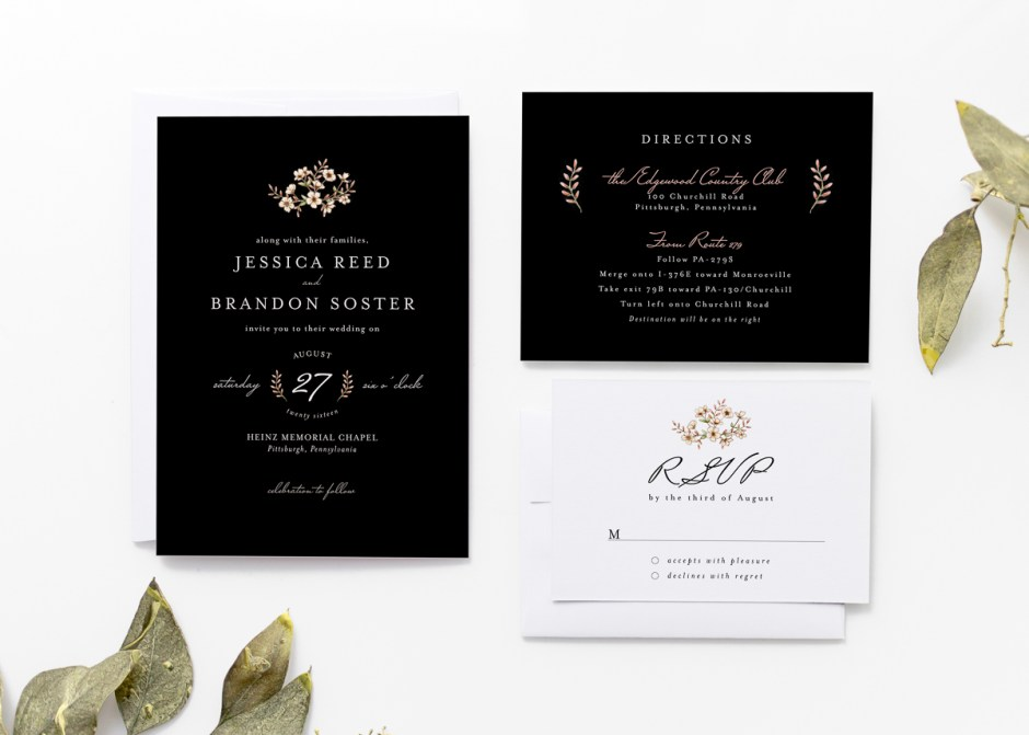 Black Floral Wedding Invitation Suite