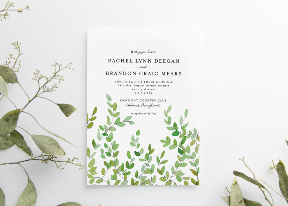 Botanical Branches Watercolor Wedding Invitation