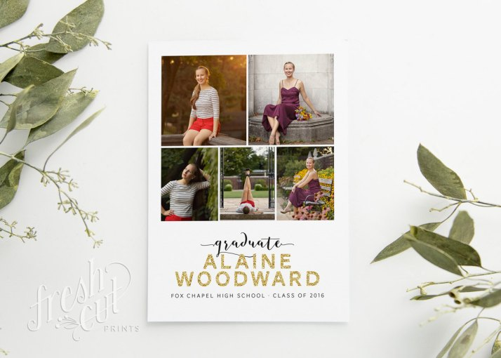Printed Graduation Announcement Cards with Glitter Name