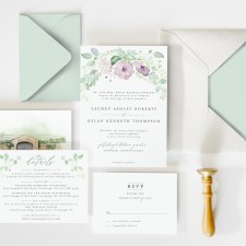 elegant watercolor wedding suite