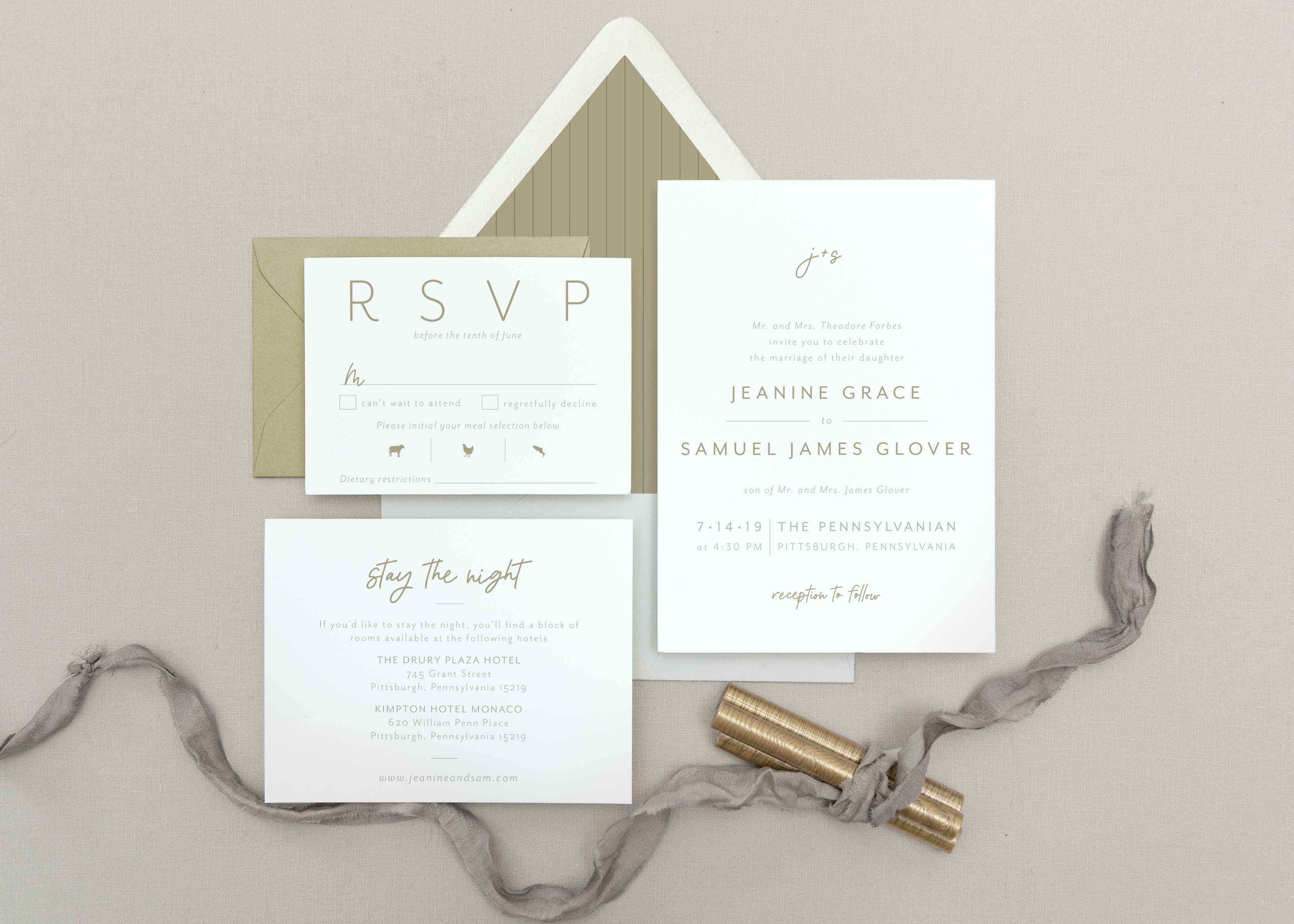 gold and white modern invitation suite