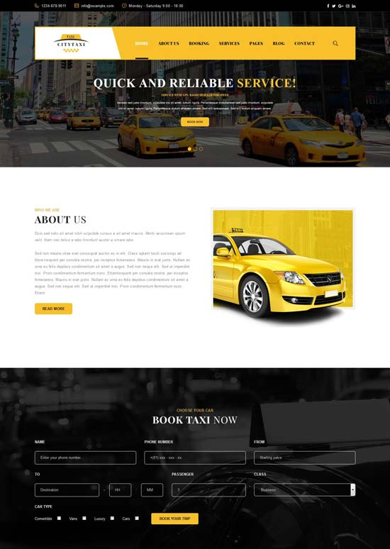 Changes can only be made by your taxi administrator if the master template has been designed in a way that allows it. 40 Best Car Rental Taxi Website Templates Free Premium Freshdesignweb