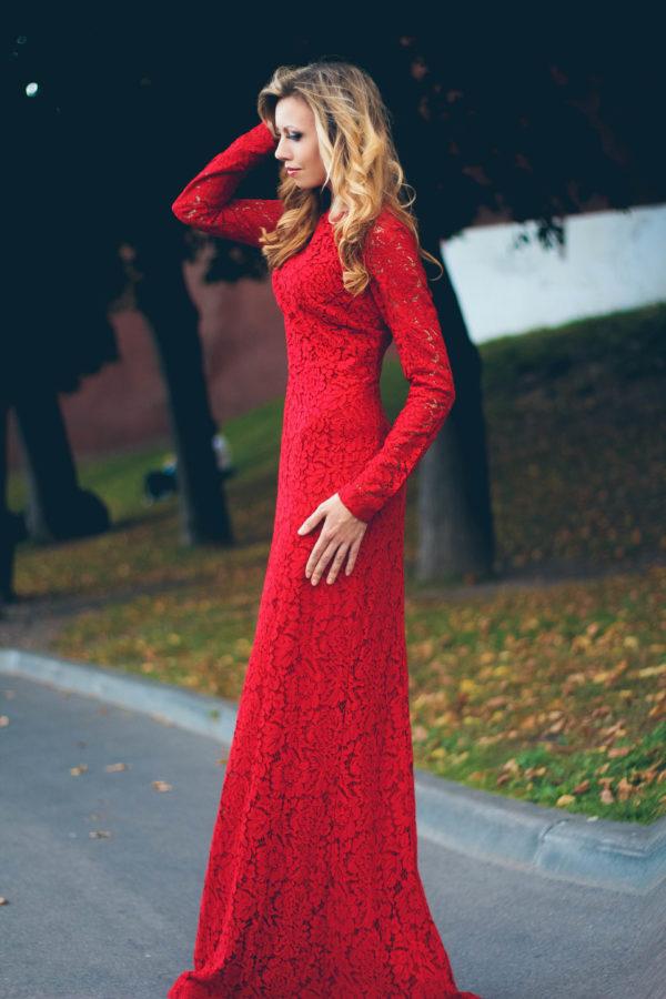 Вечерние платья в прокат Москва Red Lace Long Evening Dress