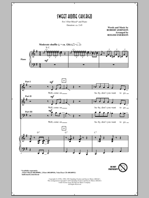 It would be useful to have covered 'heartbreak hotel' before this lesson! Roger Emerson Sweet Home Chicago Sheet Music Download Printable Blues Pdf Score How To Play On 3 Part Mixed Choir Sku 156946