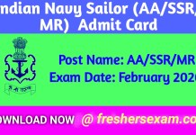 Indian Navy Sailor (AA/SSR/MR) Admit Card 2020