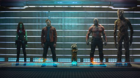 Zoe Saldana as Gamora, Chris Pratt as Peter Quill/Star Lord, Bradley Cooper as Rocket, Dave Bautista as Drax, and Vin Diesel as Groot. Photo courtesy of Walt Disney Studios Motion Pictures and Marvel Studios.