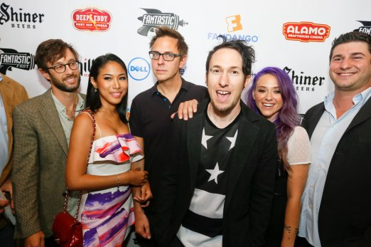 James Gunn (center) and the filmmaker of THE HIVE during Fantastic Fest at the Alamo Drafthouse- South Lamar in Austin, Texas on Thursday, Sept. 18, 2014. Photo courtesy of Jack Plunkett.