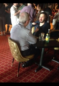 Legendary film critic Leonard Maltin and writer-director Edgar Wright.