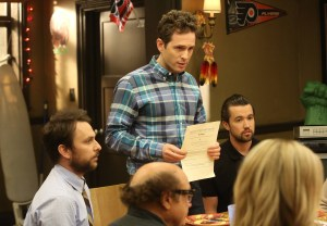 The Gang Squashes Their Beefs - Episode 10. Pictured: (L-R) Charile Day as Charlie Kelly, Danny DeVito as Frank Reynolds, Glenn Howerton as Dennis Reynolds, Rob McElhenney as Mac, Kaitlin Olson as Dee Reynolds. Photo courtesy of Patrick McElhenney/FX.