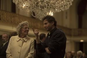 Vanessa Redgrave receiving some direction from Bennett Miller on set of FOXCATCHER.