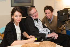 Felicity Jones, Stephen Hawking, and Eddie Redmayne. Photo courtesy of Focus Features.