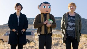 Maggie Gyllenhaal, Michael Fassbender, and Domhnall Gleeson star in FRANK. Photo courtesy of Magnolia Pictures.