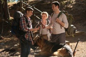 Aaron Staton, Wrenn Schmidt and Pablo Schreiber  star in PRESERVATION. Photo courtesy of The Orchard.