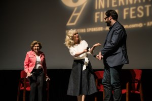 Post-screening Q&A with moderator Lee Papert (President and CEO of the Dallas Film Society), Blythe Danner and I'LL SEE YOU IN MY DREAMS director Brett Haley. Photo courtesy of Dallas Film Society.