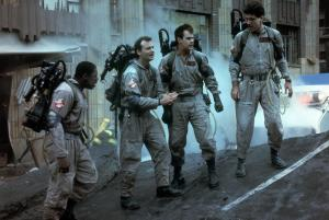 Ernie Hudson, Bill Murray, Dan Aykroyd, and Harold Ramis in GHOSTBUSTERS (1984). Photo courtesy of Columbia Pictures.