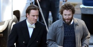 Michael Fassbender as Steve Jobs and Seth Rogen as Steve Wozniak.