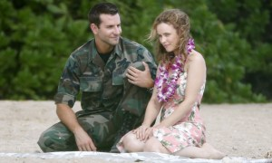 Bradley Cooper and Rachel McAdams film a scene together for ALOHA on the beach in Oahu, Hawaii. Photo courtesy of Sony Pictures.