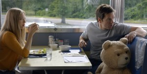 Amanda Seyfriend, Mark Wahlberg and Seth MacFarlane star in TED 2. Photo courtesy of Universal Pictures.