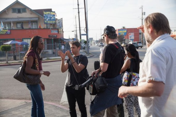 Sean Baker directing Mya Taylor in TANGERINE. Photo courtesy of Magnolia Pictures.