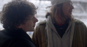 David Lipsky (Jesse Eisenberg) and David Foster Wallace (Jason Segel). Photo courtesy of A24.
