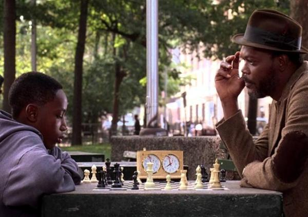Sean Nelson as Fresh (left) battling a game of wits with Samuel L. Jackson (right) playing Sam