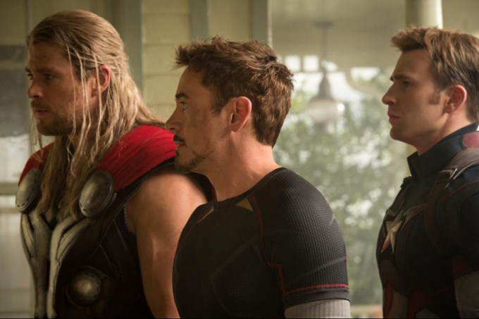 Chris Hemsworth, Robert Downey Jr., Chris Evans in AVENGERS AGE OF ULTRON. Photo courtesy of Marvel/ Disney.