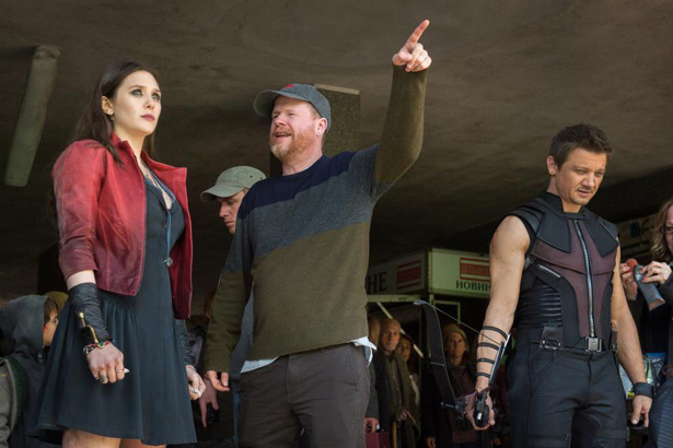 Elizabeth Olsen and Aaron Taylor-Johnson being directed by Joss Whedon in AVENGERS AGE OF ULTRON. Photo courtesy of Marvel/ Disney.
