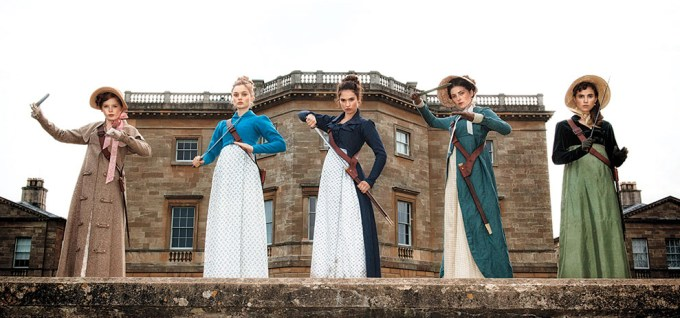 The Bennet Sisters slay some zombie butt in PRIDE AND PREJUDICE AND ZOMBIES.