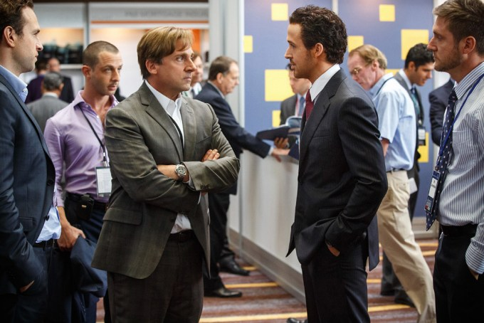 Left to right: Steve Carell plays Mark Baum and Ryan Gosling plays Jared Vennett in The Big Short from Paramount Pictures and Regency Enterprises Photo credit: Jaap Buitendijk