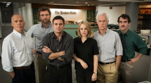 L-R: Michael Keaton, Liev Schreiber, Mark Ruffalo, Rachel McAdams, John Slattery and Brian d'Arcy James. Photo courtesy of Open Road Films.