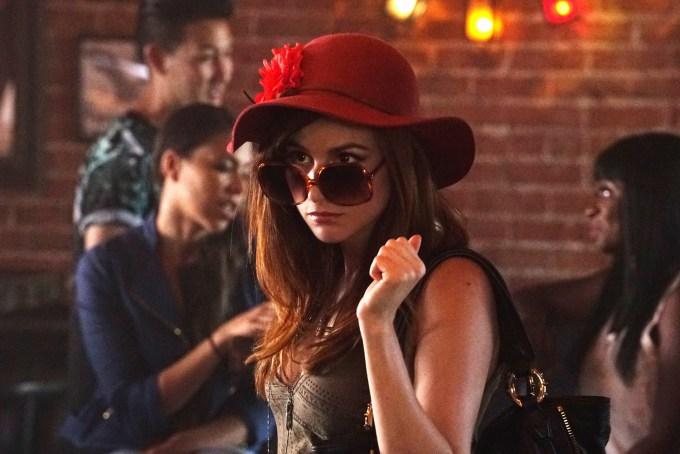 Aya Cash disguises herself to snoop on Chris' roll in the hay. Photo courtesy of Byron Cohen/FX.