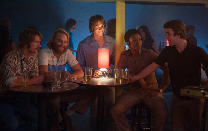 Left to right: Glen Powell plays Finnegan, Wyatt Russell plays Willoughby, Blake Jenner plays Jake, James Quinton Johnson plays Dale Douglas and Temple Baker plays Plummer in Everybody Wants Some by Paramount Pictures and Annapurna Pictures.