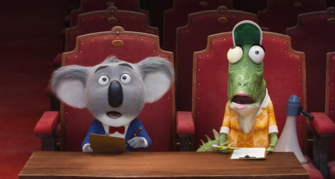 These guys listen to auditions in SING. Courtesy of Universal Pictures.