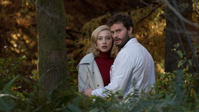 Sarah Gadon and Jamie Dornan in THE 9TH LIFE OF LOUIS DRAX. Courtesy of Summit Premiere.