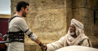 Jack Huston is Judah Ben-Hur, Morgan Freeman is Ilderim. Photo courtesy of Paramount Pictures.