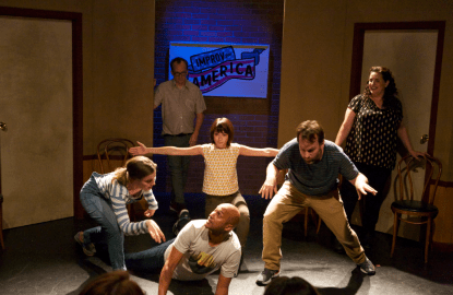 L-R: Gillian Jacobs, Chris Gethard, Keegan-Michael Key, Kate Micucci, Mike Birbiglia and Tami Sagher star in DON'T THINK TWICE as a New York City improv troupe that performs under the name the Commune. Photo courtesy of The Film Arcade.